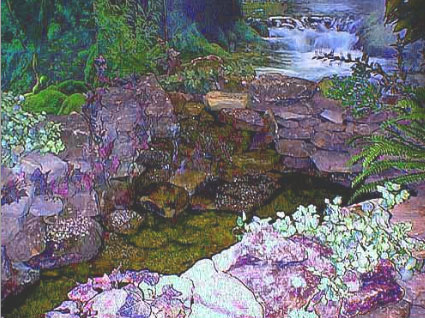 Additional gravel, realistic silk plants, and the water are added to make this pond match the mural. The water trickles over the stones making a relaxing rippling sound.